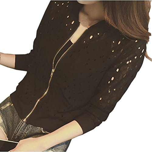 Clearance Sale! Women Lace Jacket,Canserin Women Stand Collar Bomber Jacket Long Sleeve Zipper Lace Cardigan Coat Size US 6-14 (3XL, Black)