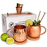 Moscow Mule Hammered 100% Copper Mug Cup Set for Two with Shots - Straws - Spoons with Muddlers - Coasters and Mixology Book