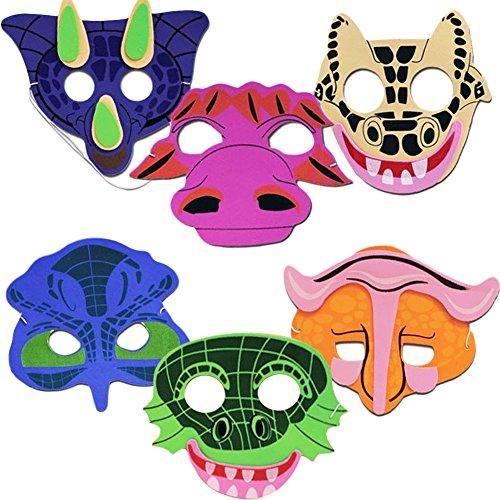 Foam Dinosaur Face Masks - Cute Foam Face Masks Featuring Dinosaurs (Cute Halloween Masks)