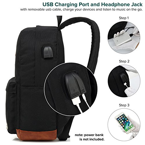 Laptop Backpack, Waterproof School Backpack With USB Charging Port For Men Women, Lightweight Anti-theft Travel Daypack College Student Rucksack Fits 14-inch Computer - Black by UNIWALK (Image #1)
