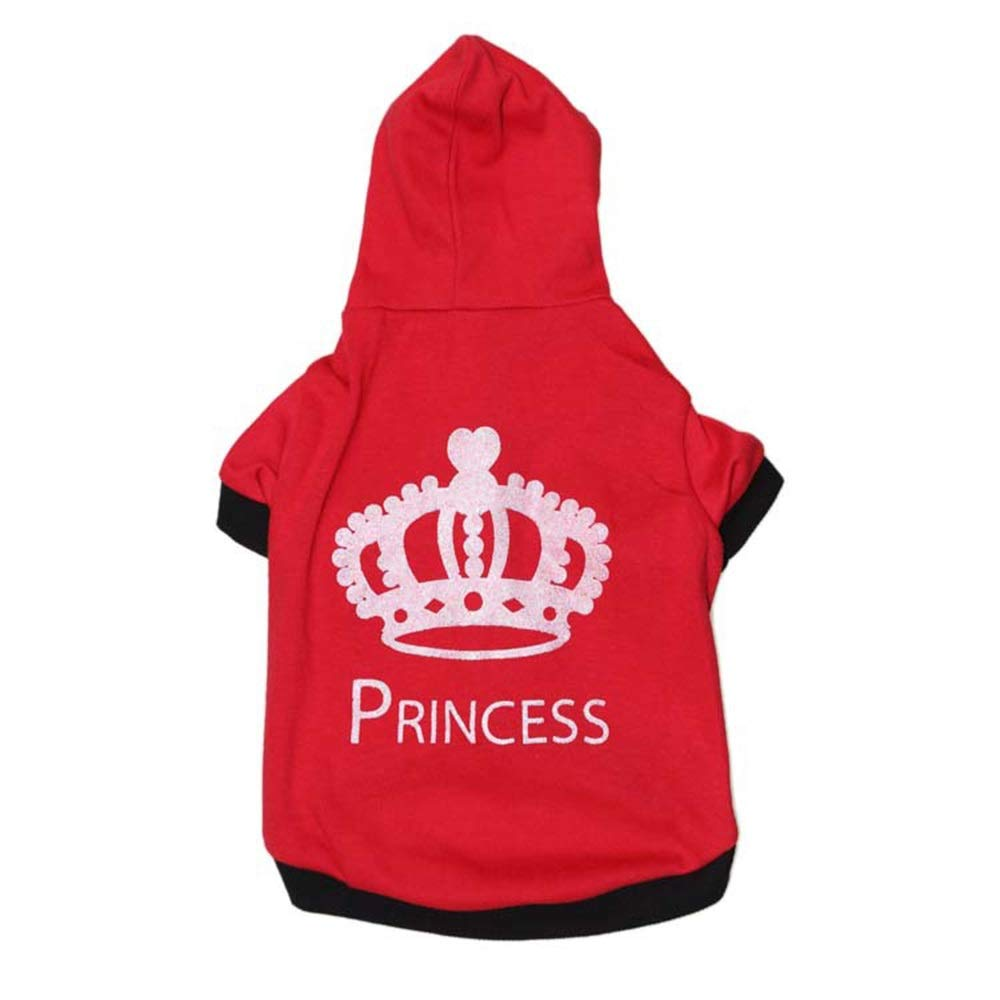 Red M Red M Huayue Pet Sweater Dog with Hood Printed Big Crown Pity Pet Spring and Autumn (color   Red, Size   M)
