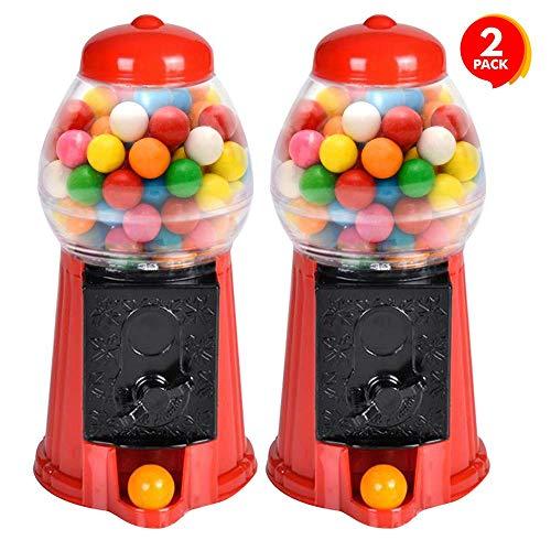 Mini Gumball Machine Favors (ArtCreativity Gumball Machine for Kids, Set of 2, 6.5 Inch Desktop Bubble Gum Mini Candy Dispenser, Unique Money Saving Coin Bank, Best Gift or Vintage Office Desk Decoration (Gumballs not)