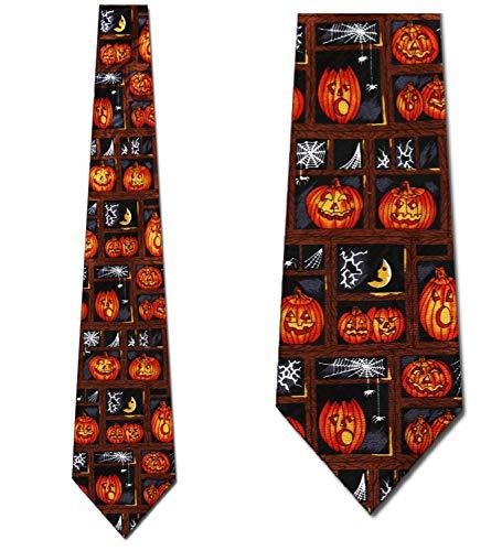 Halloween Necktie - Pumpkin Spider Webs Halloween New Novelty tie by Three Rooker