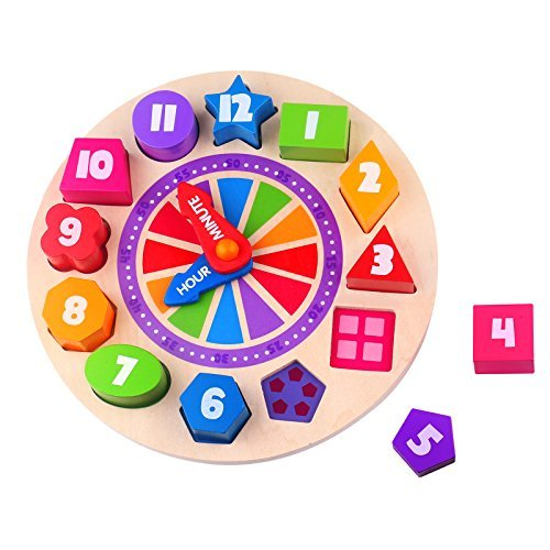 Timy Wooden Shape Sorting Clock Puzzle Teaching Clocks Number Puzzle Learning Toy for Kids by Timy