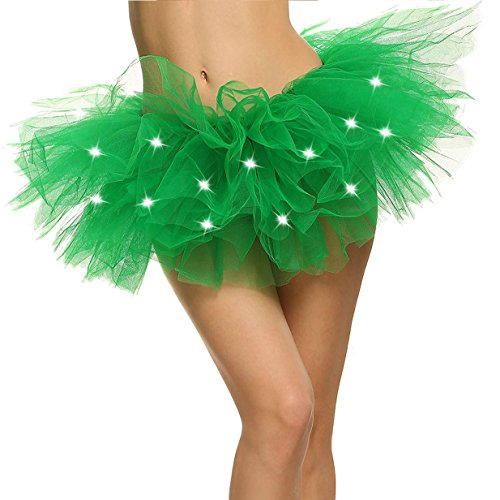 Green Tutu (Green Tutu LED Light Up Neon Tulle Tutu Skirt for Costume Show Nightclub, Green)