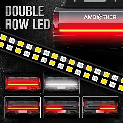 AMBOTHER 60 Truck Tailgate Light Bar Double Row LED Flexible Strip Running Turn Signal Brake Reverse Tail light For Pickup Trailer SUV RV VAN Car Towing Vehicle,Red/White,No-Drill,1 yr warranty