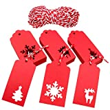 Office Products : Christmas Gift Tags,Xmas Tree Snowflake Reindeer Red Kraft Paper Gift Wrap Tags with Red and White String,150 Pcs
