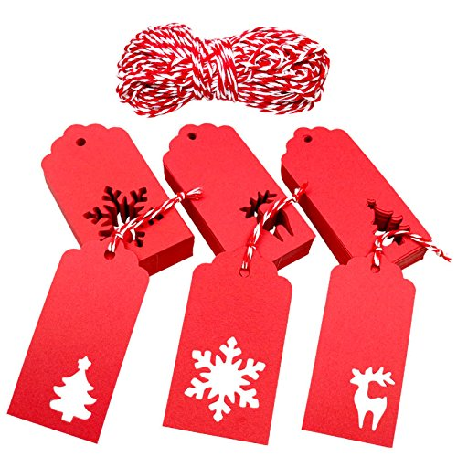 Christmas Gift Tags,Xmas Tree Snowflake Reindeer Red Kraft Paper Gift Wrap Tags with Red and White String,150 Pcs