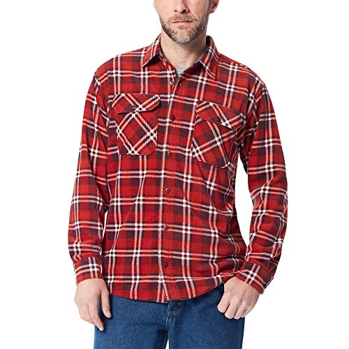 Two Pocket Flannel - Wrangler Authentics Men's Long Sleeve Plaid Fleece Shirt Jacket, Bossa nova Tartan, 2XL