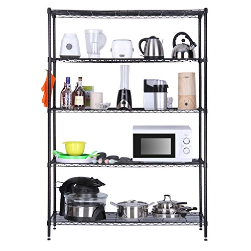Garage Organization Shelving: 5 Tier Storage Rack Shelf Wire Shelving Units, Garage