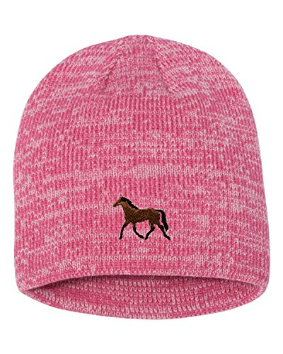 Go All Out One Size Pink/Dark Pink Adult Horse Embroidered Marled Knit Beanie ()