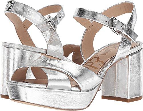Sam Edelman Women's Jolene Heeled Sandal, Soft Silver/Metallic Distressed Leather, 10 M US ()