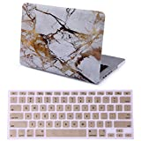 HDE Plastic Hard Case and Keyboard Cover for MacBook Pro 13 (Non Retina) Snap On Protective Hard Shell White Marble Design Fits Old MacBook Pro 13 Inch Model A1278 with CD Drive (White Gold Marble)