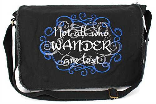 Price comparison product image Dancing Participle Not All Who Wander Embroidered Black Messenger Bag