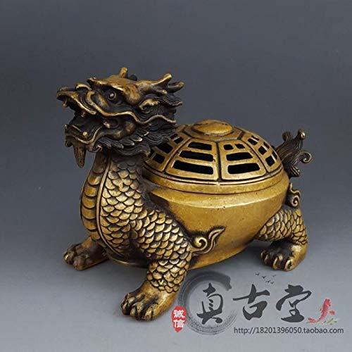 ZAMTAC Antique Fengshui Brass Dragon Turtle Furnace Decoration Sandalwood Incense Burner Home Decoration Gift