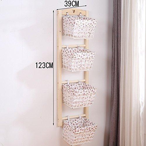 YNN jiazi Wall-Mounted Shelf Wall Hanging Rattan Basket Cloth Storage (Color : B, Size : 4 Layer)