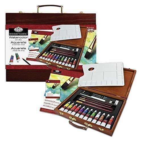 Royal & Langnickel Essentials 25 Piece Watercolour Painting Wooden Box Art Set