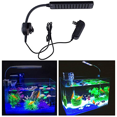 LSHCX LED Clip Aquarium Lights Kit with Touch Sensor Switch and Adjustable Flexible Tube for Fish Tanks, White & Blue