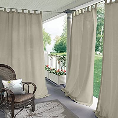 """Blackout Outdoor Curtain Tab Top Beige 84"""" W x 120"""" L for Front Porch"""