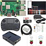 Raspberry Pi 3 B+ Kit - 16GB High-speed SD, Raspbian, WiFi, Bluetooth, Wireless Keyboard, 3A Power Supply, Black Case