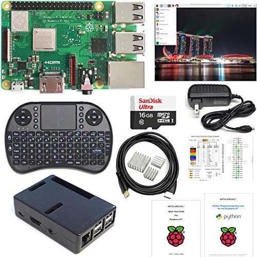 Raspberry Pi 3 B+ Kit - 16GB High-speed SD, Raspbian, WiFi, Bluetooth, Wireless Keyboard, 3A Power Supply, Black Case by MBTechWorks
