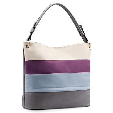 f65b17555348 Amazon.com: Plambag Multi Color Stripped Handbag for Women, Faux Leather  Hobo Shoulder Tote Bag: Shoes