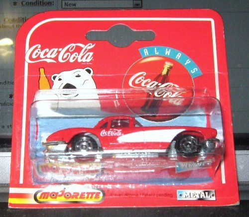MAJORETTE COCA-COLA 1958 CHEVY CORVETTE, DIE CAST, 1/64 SCALE ON DISPLAY - Corvette Chevy 1958