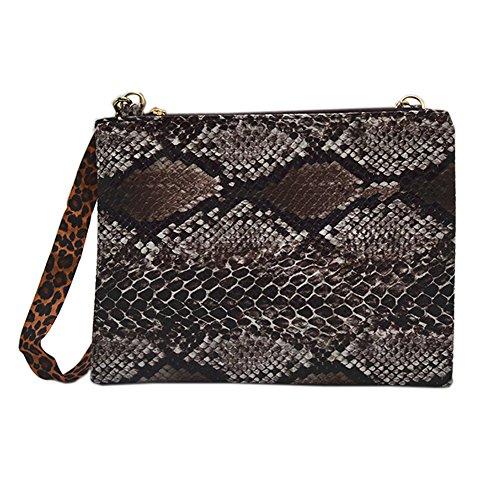 Brown Snakeskin Purse - Anlydia Women Snakeskin Design Clutch Bag Crossbody Bag Envelop Bag Evening Purse (Brown)