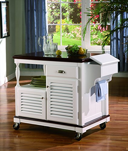 Coaster Home Furnishings 2-Door Kitchen Island White and Cherry ()