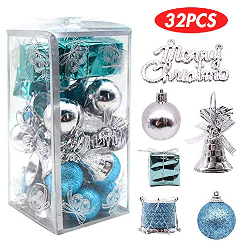 Christmas Ornaments Sale (LoveInUSA 32 pcs Christmas Ball Ornaments, Christmas Tree Ornaments Christmas Decorations Tree Balls for Christmas Xmas Tree (Blue &)