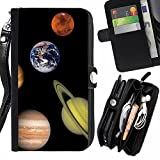 STPlus Solar System Planets Wallet Card Holder with Strap and Zipper Cover Case for Apple iPhone 7 Plus / iPhone 8 Plus