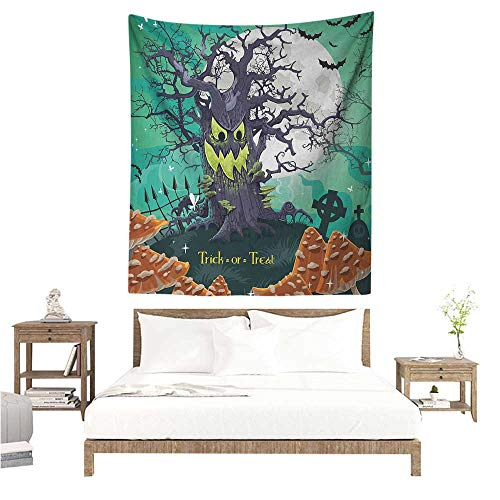 Agoza Halloween Tapestry Wall Hanging Trick or Treat Dead Forest with Spooky Tree Graves Big Kids Cartoon Art Print Occlusion Cloth Painting 54W x 72L INCH -