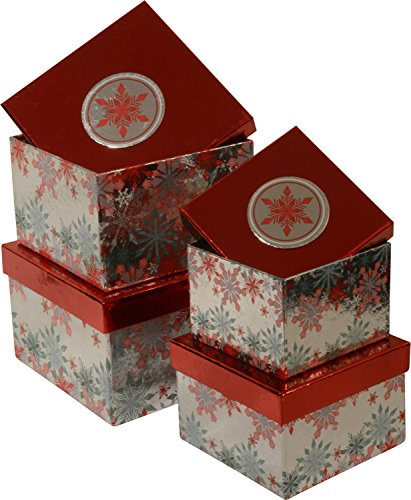 Large Nested (Christmas Gift Boxes; set of 4 foil boxes in different sizes with shiny colorful Snowflakes; Christmas 2016)