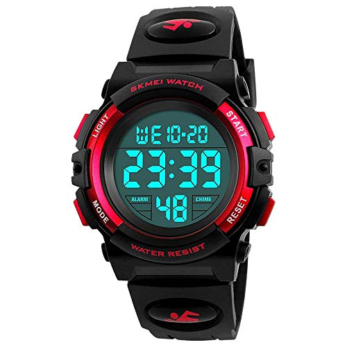 Dreamingbox Birthday Gifts for 6-12 Years Old Boys, Waterproof Sports Watch for Boys Digital Watch for Boys Kids Watches Waterproof Cool Toys for 6-13 Year Old Boys Girls Wrist Watch Red MMXSB04