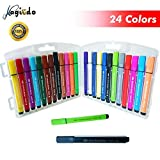 Magicdo 24 pcs Triangular Art marker, Washable Watercolor Marker Pen for Coloring Book and Craft Project, Safe Highlighter Pain Pen with Non-Toxic Water-based Ink