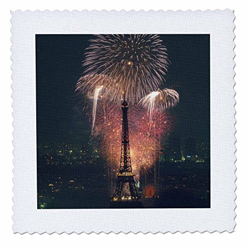 3dRose qs_81331_2 Fireworks, Eiffel Tower, Paris, France Eu09 Aba0106 Alex Bartel Quilt Square, 6 by 6-Inch