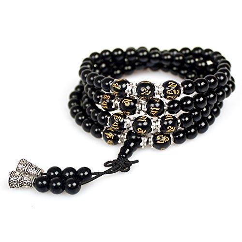 Mala Beads,Unisex Tibetan Buddhist 6mm Obsidian Healing Gemstone 108 Rosary Mala Prayer Beads Wrist Bracelet Necklace (Om Mani Padme Hum) (Om Mani Padme Hum Om Mani Padme Hum)