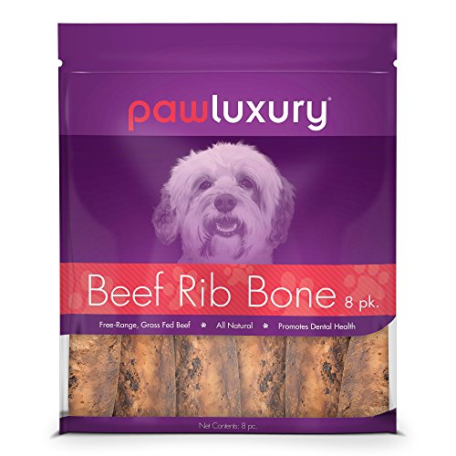 Pawluxury Natural Beef Rib Bones by (8 Pack) Durable and Long-Lasting Dog Chews by Pawluxury