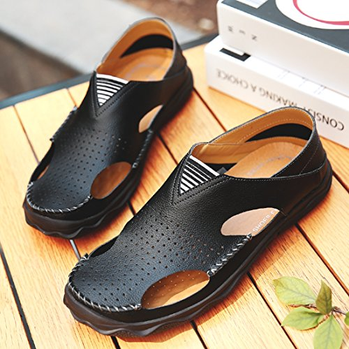 TDA Mens Closed Toe Rubber Sole Leather Breathable Summer Beach Sandals Black K3idgHe9N