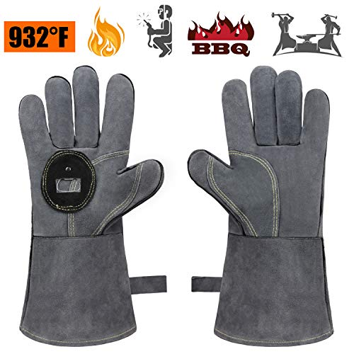 Oil Combination Wood Furnace - Bessteven 932°F Fire Heat Resistant BBQ Gloves Leather with Bottle Opener Extra Long Sleeve for Oven/Grill/Fireplace/Furnace/Stove/Forge Safety/Mig/Welding/Pot Holder