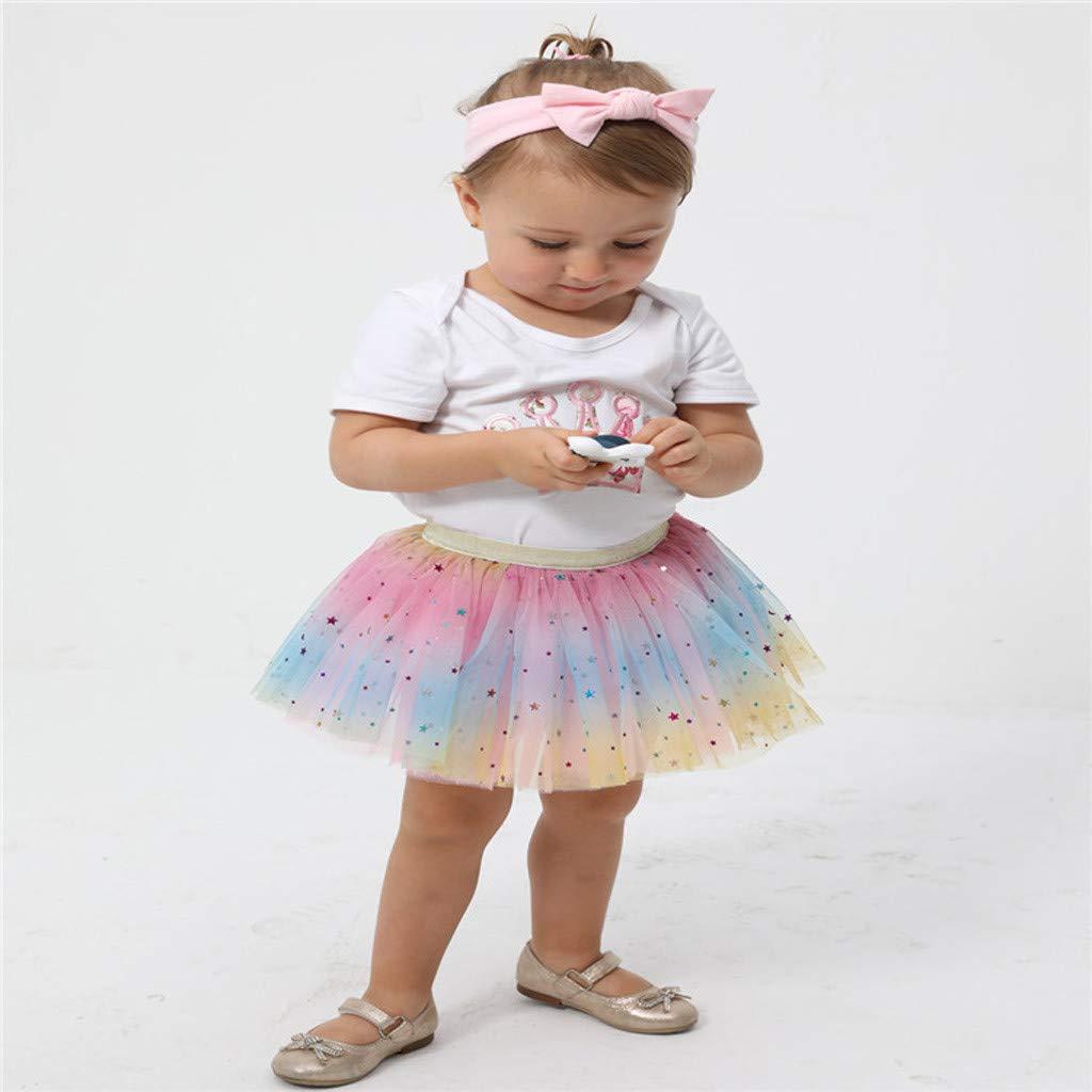 Sushed Skirt Todder Kids Girl Petticoat Rainbow Princess Pettiskirt Bowknot Skirt Tutu Tullue Dancewear