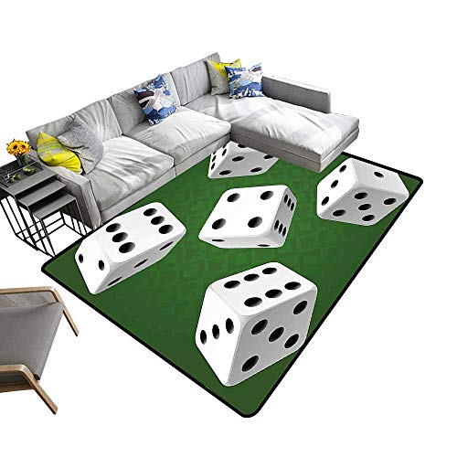 Polyester Area Rug Mat Casino Theme Rolling Dice Set on Green Background Illustration Black White and Fern for Residential or Commercial Use 5' X - Dice Fun Gripper