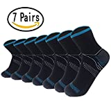 Sport Plantar Fasciitis Arch Support Compression Foot Socks/Foot Sleeves (7 Pairs) - Increases Circulation, Relieve Pain Fast (Black&Blue, L/XL)