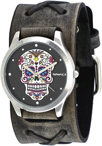 Nemesis #FXB925K Women's Rock Collection Sugar Skull Grey Wide Leather Band Watch (Skull Band Watch Leather)