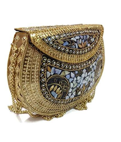 Trend Para Las Mujeres Bolso Fiesta Metal Múltiples Hechas Vintage Piedra Overseas Bolsa Embragues Étnica Monedero Embrague De A Mosaico Mano CqrpC
