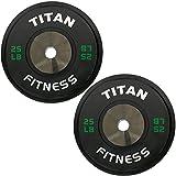 Pair of Titan Elite Olympic Bumper Plates - 25 LB (Black/Green)