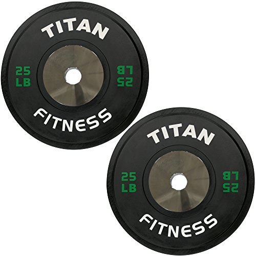 Pair of Titan Elite Olympic Bumper Plates - 25 LB (Black/Green) by Titan Fitness (Image #3)