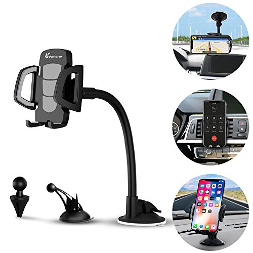Car Phone Mount, Vansky 3-in-1 Universal Phone Holder Cell Phone Car Air Vent Holder Dashboard Mount Windshield Mount for iPhone 7 Plus,8 Plus,X,7,6S,6,Samsung Galaxy Note S6 S7 and More (Note 3 Cell Phone Holder)