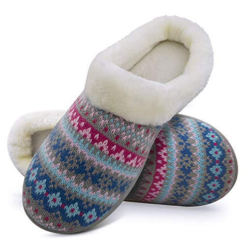 Slippers for Women Knitted Slip on Memory Foam Anti-Skid Sole Comfy Faux Fur Collar Fluffy House Shoes Indoor & Outdoor (5-6 M US, Grey)