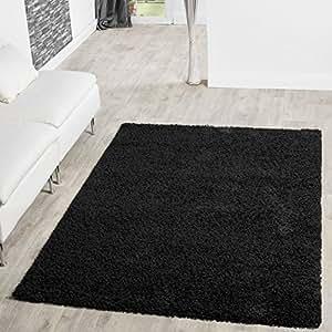 T&T Design Shaggy - Alfombra para salón, diferentes precios, varios colores, negro, 160 x 220 cm